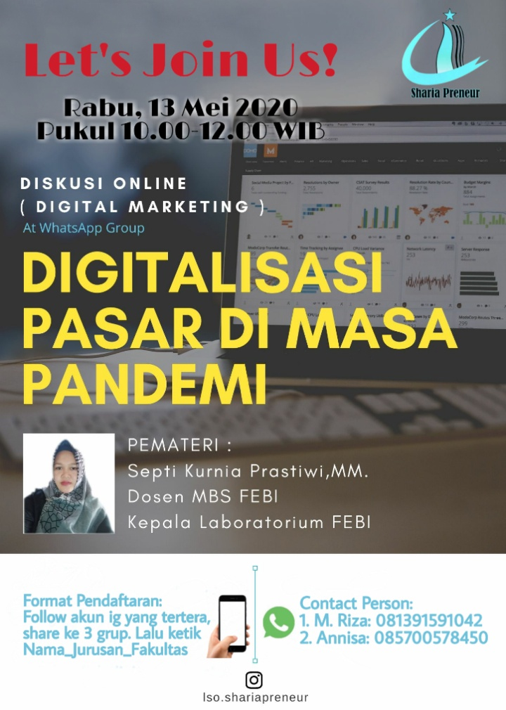 "Bincang  Marketing, LSO Sharia Preneur Adakan Diskusi Online ""Digitalisasi Pasar di Masa Pandemi"""